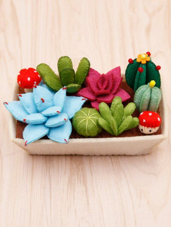 Felt cactus DIY kit, pre-cut felt succulent garden DIY kit