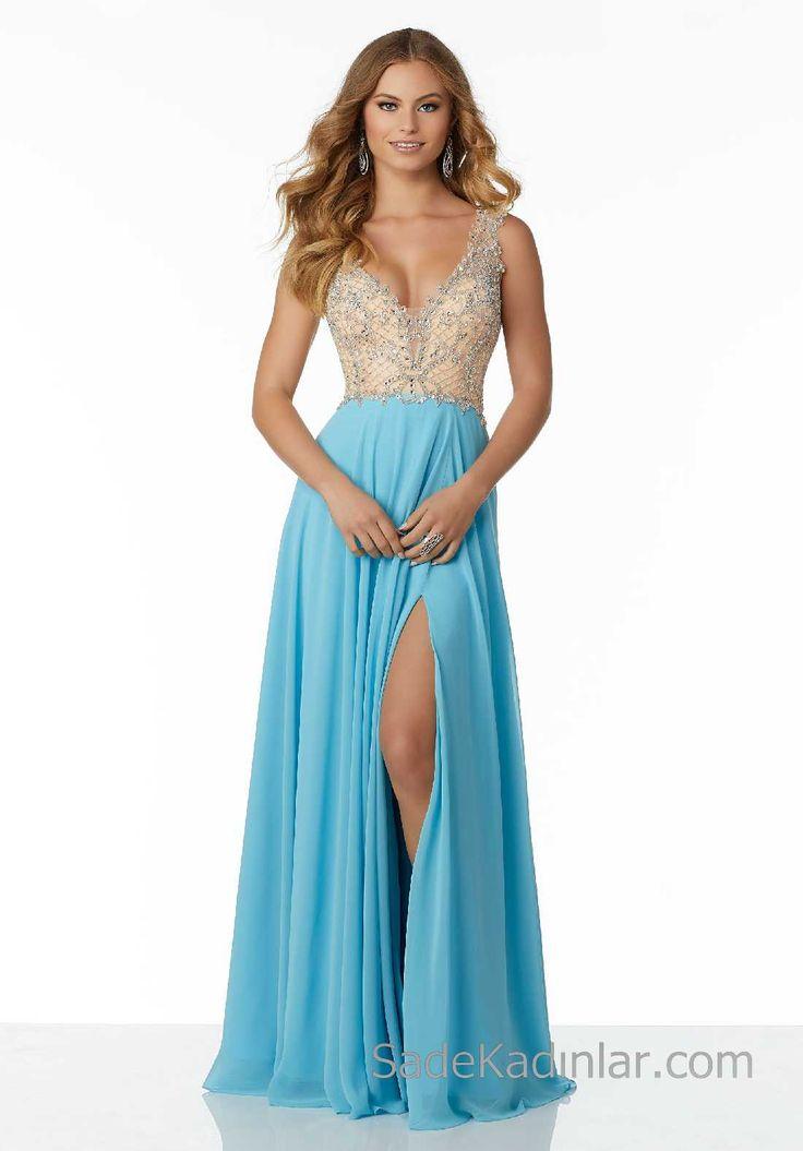 2018Gece Elbiseleri Şık Abiye Modelleri Mavi Uzun Şifon Askılı Boncuk İşlemeli