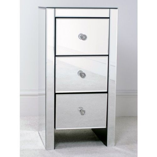 Mirrored 3 Drawer Slim Bedside Table