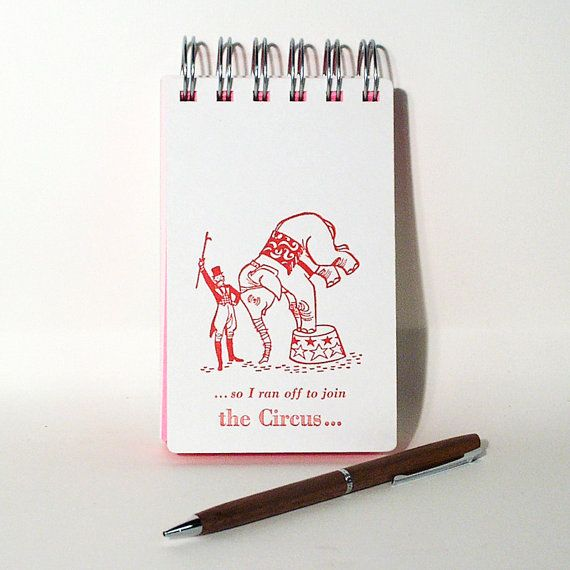 Circus Theme Pocket Notebook, red imprint, white covers, unlined hot pink pages, wire bound