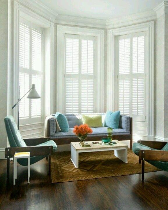 Bay windows shutters blinds I love