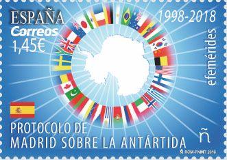 """4ªEmisión:Efemérides. Protocolo de Madrid sobre la Antártida 1998-2018.Fecha emisión:10/01/2018.En el año 1991 se firmó en Madrid el Protocolo al Tratado Antártico sobre Protección del Medio Ambiente. Este tratado nace para reforzar el Sistema del Tratado Antártico y por la necesidad de incrementar la protección del medio ambiente al otro lado del mundo. En ese pacto, se establece que la Antártida sea considerada como reserva natural """"consagrada a la paz y la ciencia""""."""