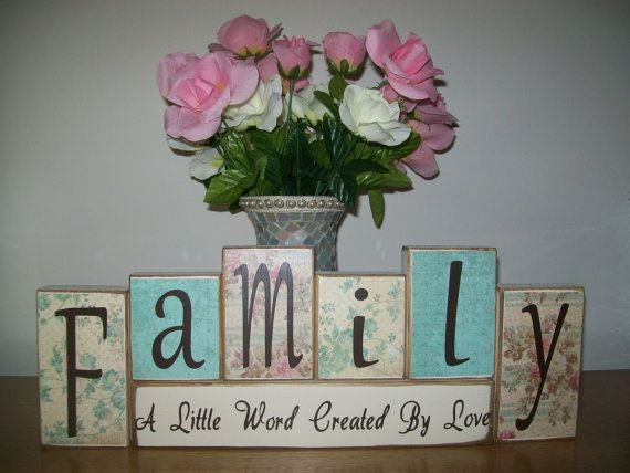 Ready To Ship as Pictured...Primitive Shabby Chic Family Wood Sign Blocks Romantic Farmhouse Cottage Distressed Decor Weddings