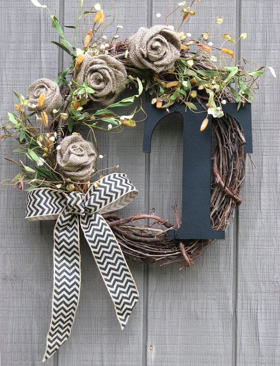 Front Door Wreath Burlap Rose Monogrammed by SimpleJoysofLife
