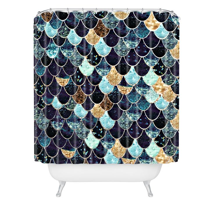Monika Strigel REALLY MERMAID MYSTIC BLUE Shower Curtain | Deny Designs