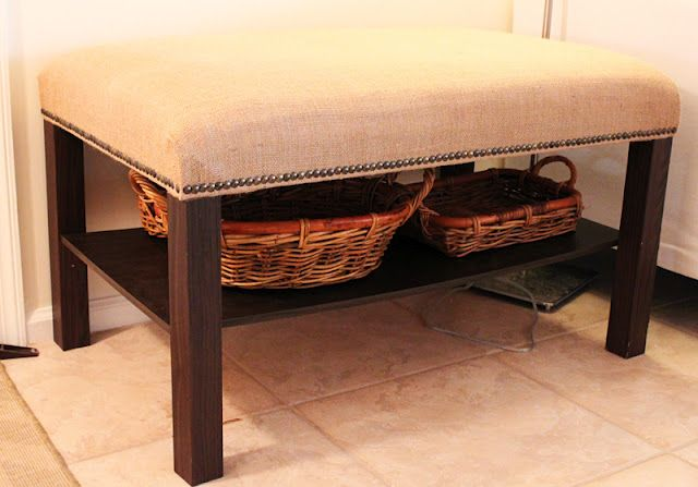 DIY bench using an ikea lack coffee table, foam, and fabric. so easy to customize the look.