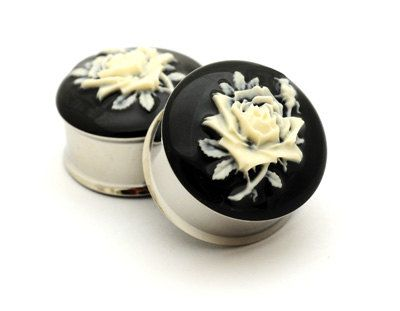 Flower Cameo Resin Plugs gauges  1 inch by mysticmetalsorganics, $24.99