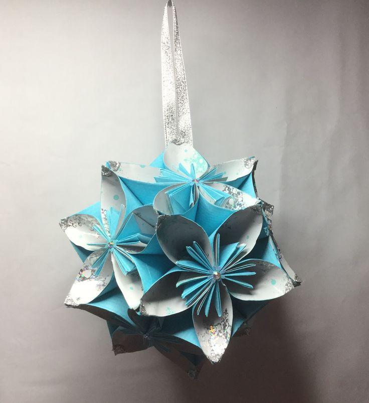 KO27 Light blue with snow pattern inner petal and glitter corners...14cm sq.