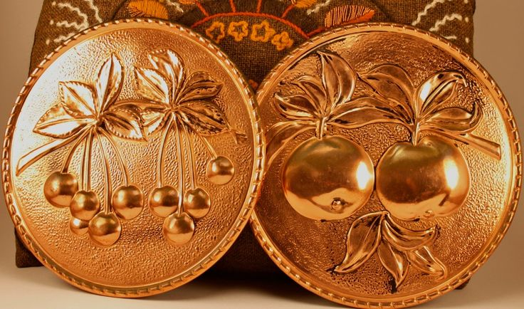 Two British Vintage Copper Wall Hangings UK vintage Grapes and Cherry by ScandicDiscovery on Etsy