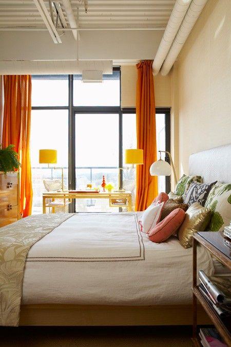 orange curtainsDecor, Orange Curtains, Small Bedrooms, Condo Bedrooms, Beautiful Home, Colours Bedrooms, Colors Palettes, Master Bedrooms, Orange Bedrooms