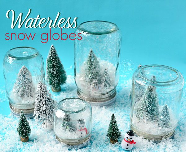 A fun variation to traditional winter craft, make waterless snow globes on www.TidyMom.net