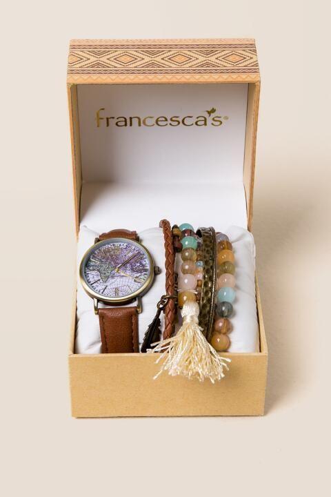 Darcey Globe Watch Box Set
