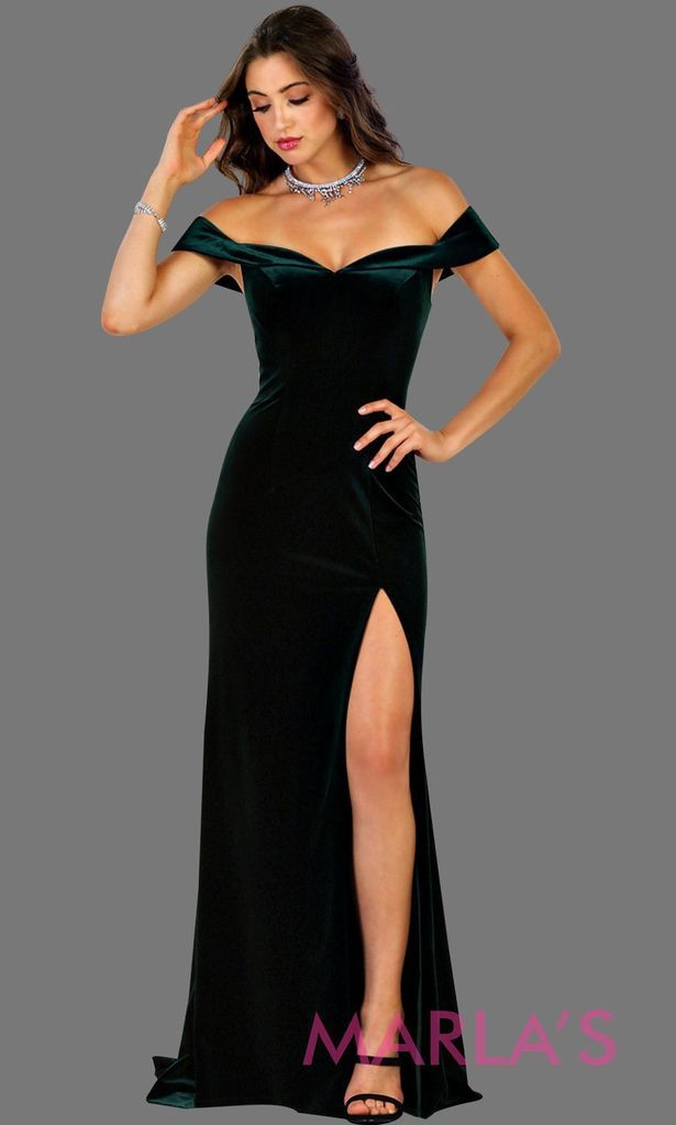 73d27643fbb1 Long fitted velvet hunter green off shoulder dress with high slit. This  sleek and sexy dark green is perfect for prom, formal party, gala, ...
