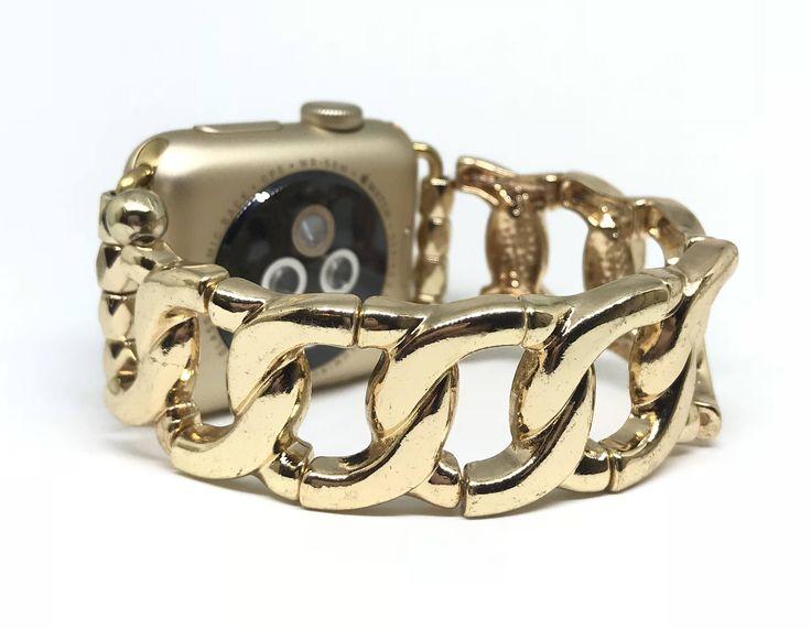Gold Metal Apple Watch Band Apple Watch Bracelet Apple Watch Jewelry Womens 38mm 42mm Stretch Bracelet Band Gold Link by TrendyTechShop on Etsy https://www.etsy.com/listing/589905865/gold-metal-apple-watch-band-apple-watch