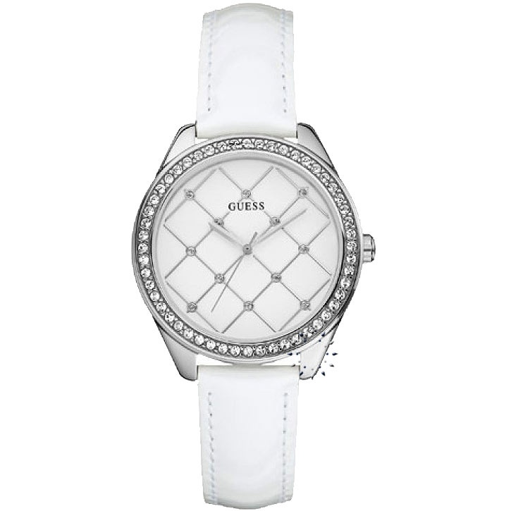 GUESS Trend Crystal White Leather Strap Μοντέλο: W60005L1 Τιμή: 84€ http://www.oroloi.gr/product_info.php?products_id=23190