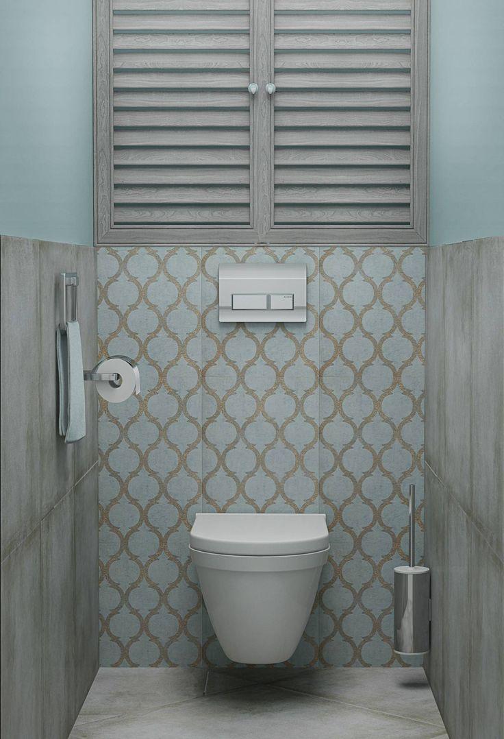 Szary i turkusowy w łazience. Piękny motyw płytek ceramicznych!