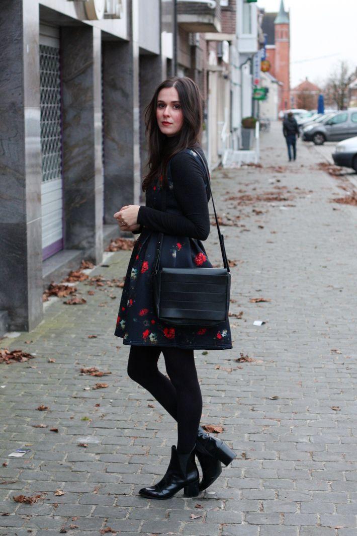 floral neoprene dress by naf naf, zara chelsea boots, and other stories satchel