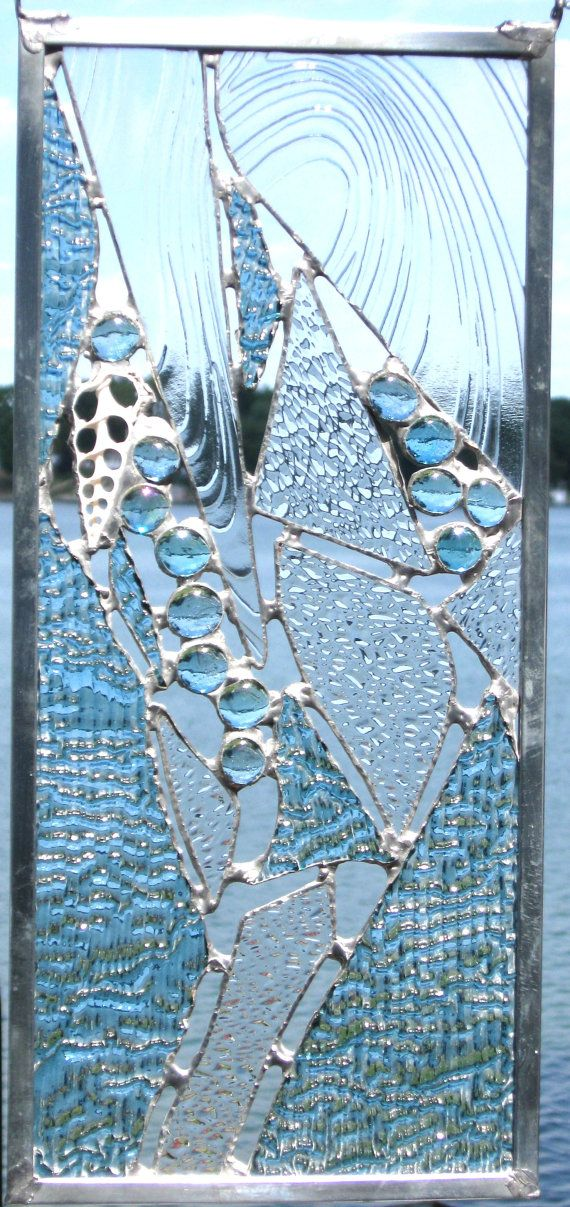 Beachy stained glass panel made of blue/clear by StudioRay on Etsy, $165.00