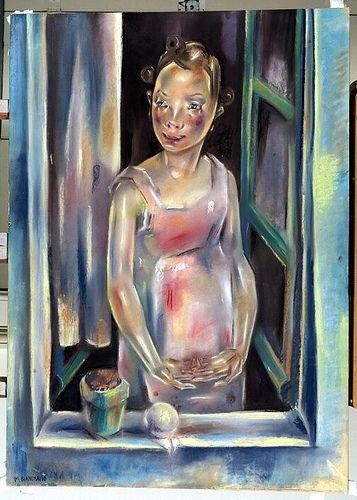 Blanchard, Maria (1881-1932) - 1924c. Girl at an Open Window (Courtauld Institute of Art, London, UK)