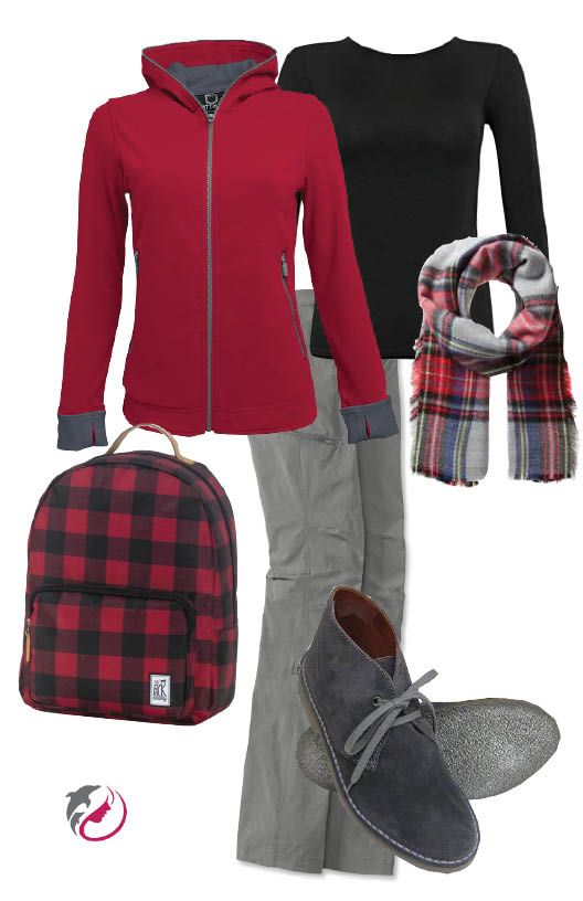 Red & Grey. The casual traveler.  Red ScottVest hooded jacket with lots of internal pockets. Grey Orvis pants that roll up for warmer days. Black classic long sleeve t-shirt and a red check rucksack to hold all your goodies with style.  Arthur Knight's grey desert boots will keep your feet happy. Add a coordinating plaid scarf that can double as a shawl.