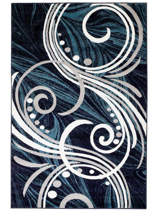 Amazon.com: NEW Summit ELITE # 61 BLUE GREY WHITE SWIRL SCROLLS Transitional Swirl Area Rug Modern Abstract Rug Many Sizes Available 2x3 2x7 4x6 5x7 8x11 (22'' INCH X 35'' INCH , SCATTER MAT DOOR MAT SIZE ): Home & Kitchen