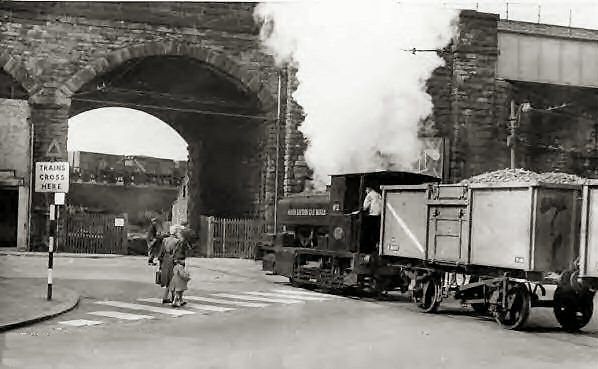 Gasworks Train, Fitzwilliam Street, Huddersfield, 1950's