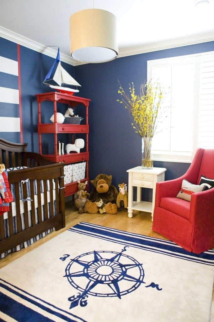 The nautical theme is a classic nursery theme. #nautical #nursery don't know if you like this but I thought it was super cute. Love the red accents!