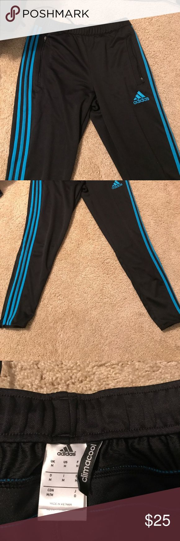 Adidas clima cool soccer/track pants Never worn adidas clima cool soccer training pants. Blue stripes and adidas logo on black pants. The pants have zippered pockets and lower ankle zippers. Perfect for the colder months, the clima cool takes away sweat from your body and keeps you cool and warm! Size is an adult medium! Adidas Pants Track Pants & Joggers