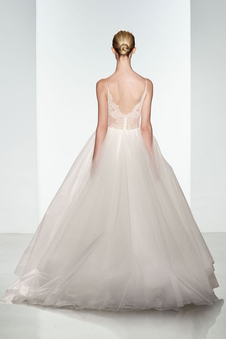 Trendy Penny by Christos Bridal Soft tulle bridal ballgown with silk chiffon and sheer lace panel