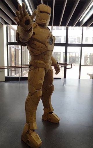 Iron Man suit made from cardboard.