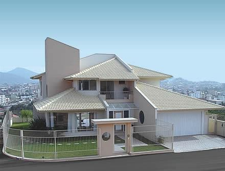 Fachadas Com  Telhado,com 2 quartos, suite, sala, copa, cozinha e garagem, area de serviço com despensa e lavandeiria.