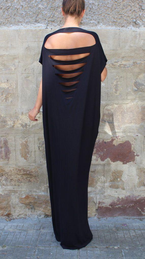 Black Caftan Maxi Dress Backless dress Plus by cherryblossomsdress