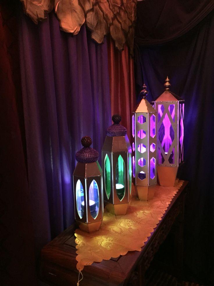 Andrea's Arabian Nights: Magalie Sarnataro's props: lighted lanterns cutouts in progress