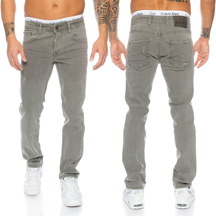 Rock Creek Herren Jeans Hose Grau Stretch-Jeans Denim Raw W29-W44 RC-2097 NEU
