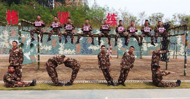 L'armée à Nanning, Chine, lors de la Saint Valentin... c'est-y pas beau?