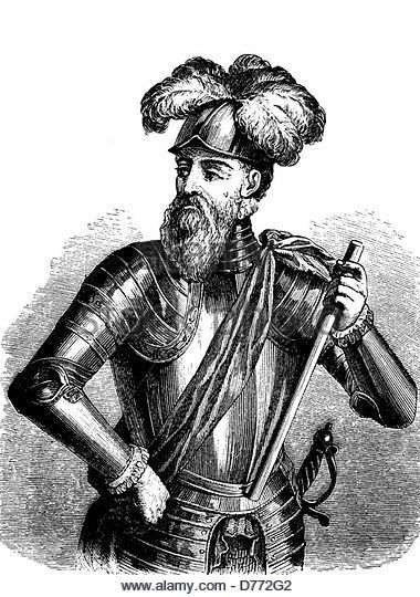 Francisco Pizarro González, 1476 - 1541, Spanish conquistador who conquered the kingdom of the Incas, woodcut - Stock Image