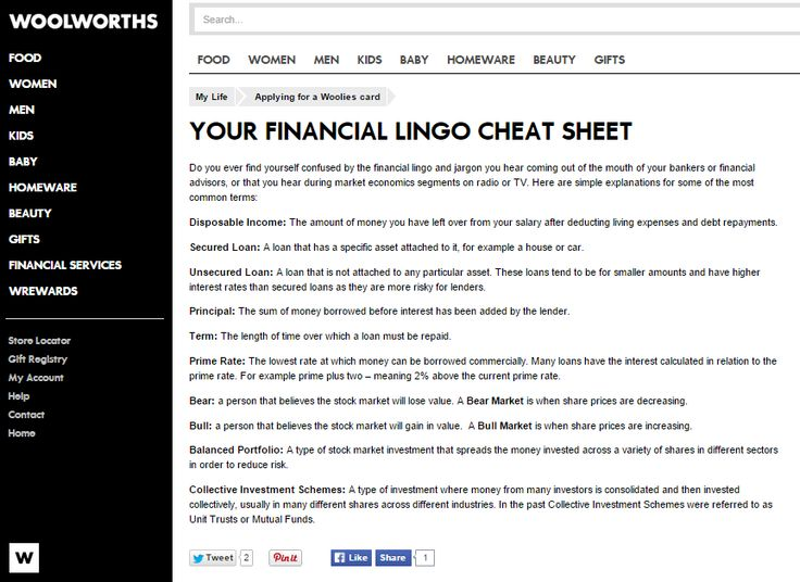 Your Financial Lingo Cheat Sheet; Website article for Woolworths Online (South Africa) Need similar (or other copywriting/web content) work done? Contact me - darrell@wordtiffie.co.za #wordtiffie