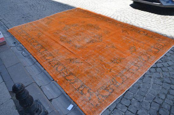 Oranje tapijt Hand gemaakt oranje overdyed Turkse door haliarthome