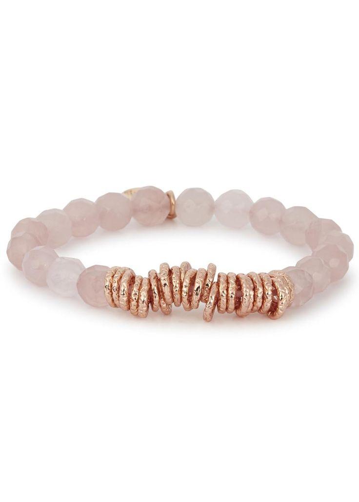 Lola Rose�rose quartz�beaded bracelet Rose gold tone ring embellishments, designer tag Slips on Comes in a designer stamped box