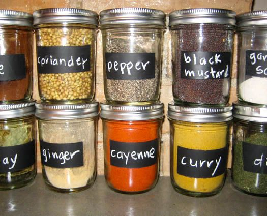 DIY spice storage - may clean the labels off the shop bought jars and do this so they are all the same! Would cost a lot to buy enough to replace the others.