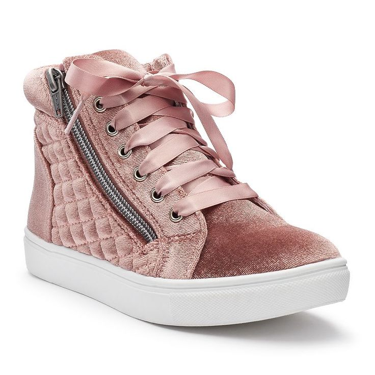 SO® Stacie Girls' High-Top Sneakers, Girl's, Size: 2, Brt Pink