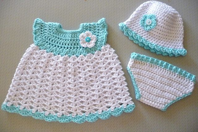 free baby dress crochet patterns | ... www.ravelry.com/patterns/library/baby-girl-sleeper-set---dress/people