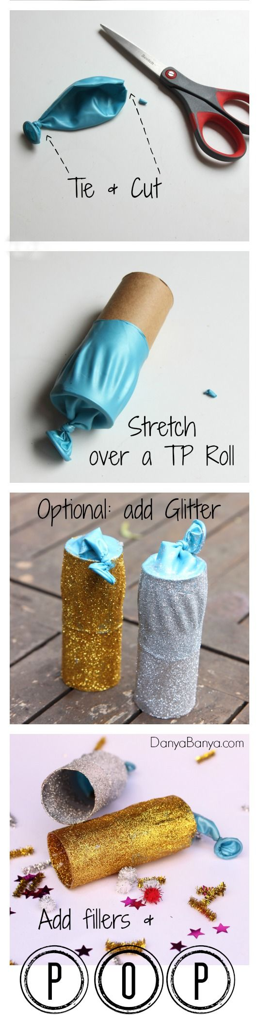 Easy DIY glitter party poppers - fun for kids parties or New Years Eve. ~ Danya Banya