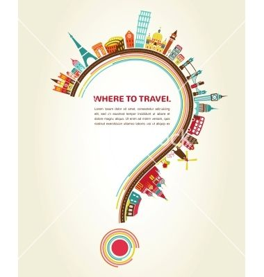 Where to travel question mark with tourism icons vector  - by ma_rish on VectorStock®