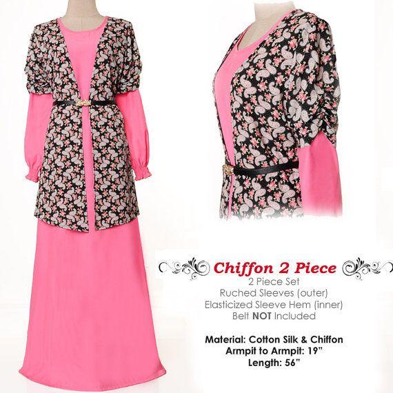 Spring Rose Chiffon Islamic Abaya Long Sleeves Maxi by MissMode21, $26.00