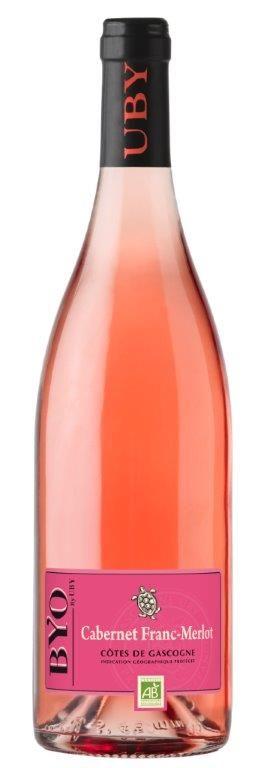Vin Byo / domaine d'uby   CABERNET FRANC & MERLOT  60% CABERNET FRANC 40% MERLOT  IGP CÔTES DE GASCOGNE   framboise groseille sont les arômes qui dominent ce vin de grande fraîcheur. La bouche est grasse et ample avec une finale de fruits frais.  Nous vous conseillons ce vin en apéritif, avec des viandes et poissons grillés, mais également avec une salade de fruits rouges.    A consommer de préférence dans l'année.