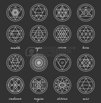 Набор геометрических фигур. Модные заниженной талией фон и логотипы. Религия, философия, эзотерика, оккультизм символы коллекция photo