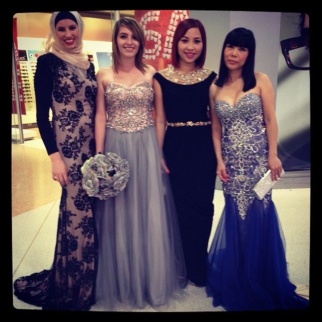 Our gorgeous models showing the gorgeous Windsor & Lux gowns at today's parade. #neetarox  #fashion #bling