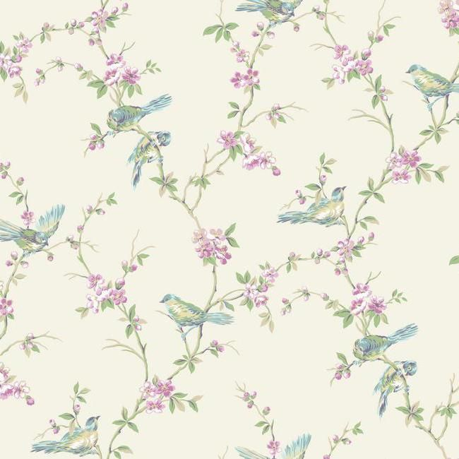 CT0864 Callaway Cottage Floral Branches W/Bi Wallpaper By