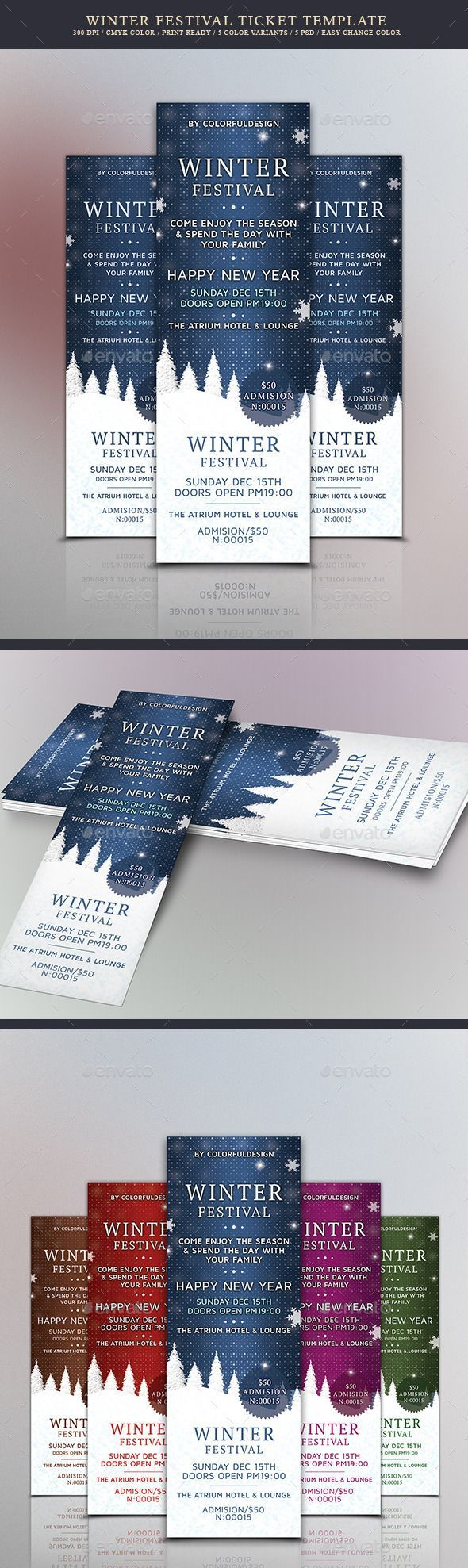 Winter Festival Ticket Template PSD. Download here: https://graphicriver.net/item/winter-festival-ticket-template/13783630?ref=ksioks